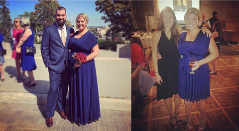 @melmossmi wears a Henkaa Navy Blue Sakura Midi infinity dress and Henkaa Navy Blue Maxi Hana Chiffon Overlay. Two images side by side showing the dress with the overlay on top and without.