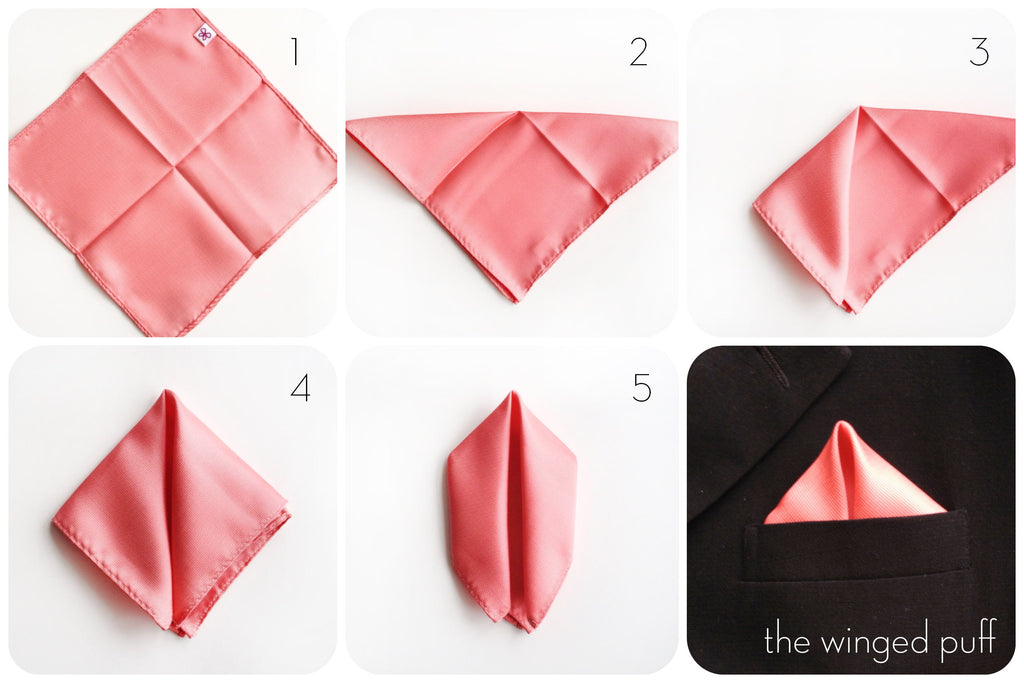 how to fold a pocket square - how to fold a winged puff pocket square