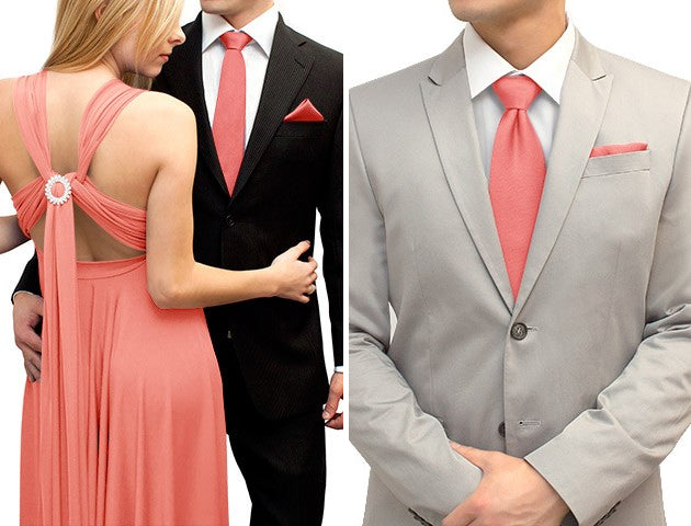 matching coral tie and pocket square