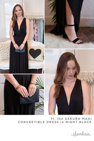 Henkaa Night Black Sakura Maxi Infinity dress styled in a deep V prom 2019 trendy dress look. Simple black clutch and black ankle-strap heel complete the look.