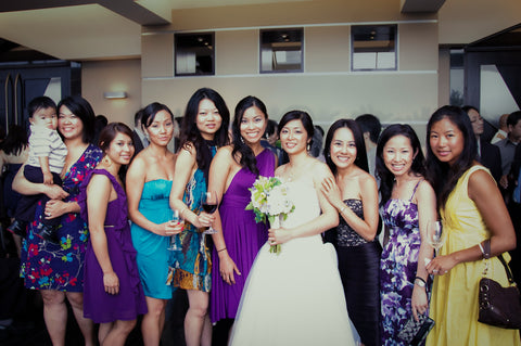 Henkaa Director Sonia Dong at her wedding in 2009, Jo Chong on her left in the first ever Henkaa Plum Purple Sakura Midi Convertible Dress.