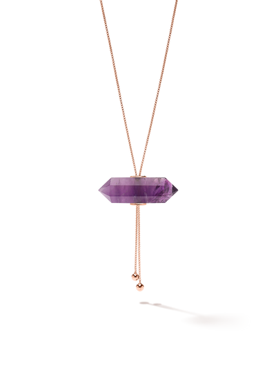 528 by CfH - Gliding Crystal Double Point Necklace - Amethyst - 18K Rose Gold Vermeil - Close Up