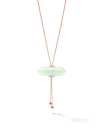 528 by CfH - Gliding Crystal Double Point Necklace - Amazonite - 18K Rose Gold Vermeil - Close Up
