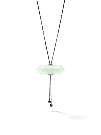 528 by CfH - Gliding Crystal Double Point Necklace - Amazonite - Black Ruthenium Plated Sterling Silver - Close Up