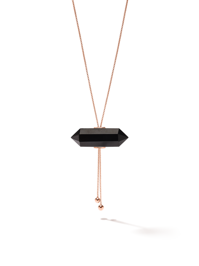 528 by CfH - Gliding Crystal Double Point Necklace - Black Jasper - 18K Rose Gold Vermeil - Close Up