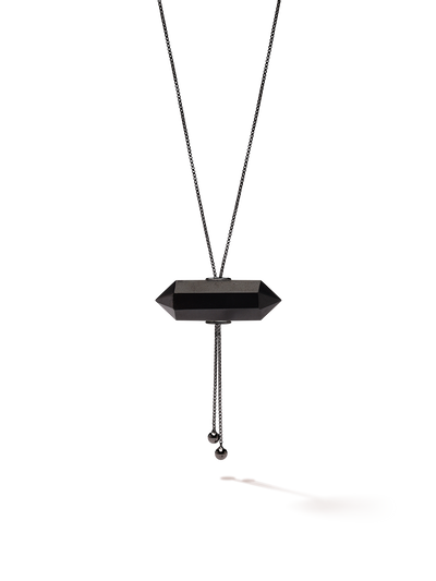 528 by CfH - Gliding Crystal Double Point Necklace - Black Jasper - Black Ruthenium Plated Sterling Silver - Close Up