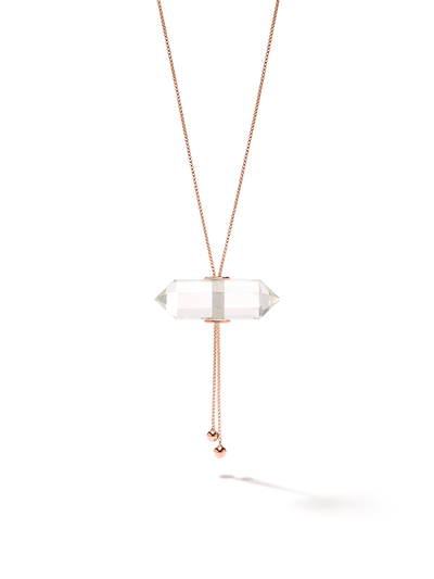 528 by CfH - Gliding Crystal Double Point Necklace - Clear Quartz - 18K Rose Gold Vermeil - Close Up