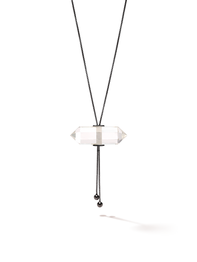528 by CfH - Gliding Crystal Double Point Necklace - Clear Quartz - Black Ruthenium Plated Sterling Silver - Close Up