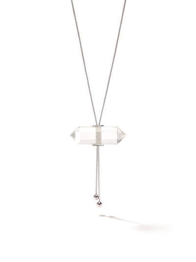 528 by CfH - Gliding Crystal Double Point Necklace - Clear Quartz - White Rhodium Plated Sterling Silver - Close Up