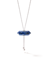 528 by CfH - Gliding Crystal Double Point Necklace - Lapis - White Rhodium Plated Sterling Silver - Close Up