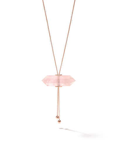 528 by CfH - Gliding Crystal Double Point Necklace - Rose Quartz - 18K Rose Gold Vermeil - Close Up
