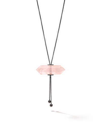 528 by CfH - Gliding Crystal Double Point Necklace - Rose Quartz - Black Ruthenium Plated Sterling Silver - Close Up