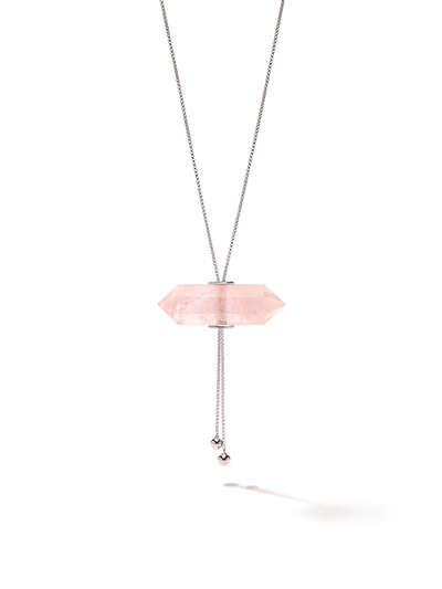 528 by CfH - Gliding Crystal Double Point Necklace - Rose Quartz - White Rhodium Plated Sterling Silver - Close Up