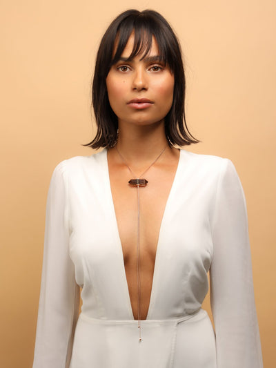 528 by CfH - Gliding Crystal Double Point Necklace - Smoky Quartz - 18K Rose Gold Vermeil - On Woman in White Formal Dress