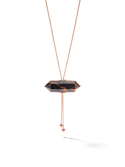 528 by CfH - Gliding Crystal Double Point Necklace - Tiger's Eye - 18K Rose Gold Vermeil - Close Up