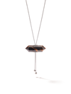 528 by CfH - Gliding Crystal Double Point Necklace - Tiger's Eye - White Rhodium Plated Sterling Silver - Close Up