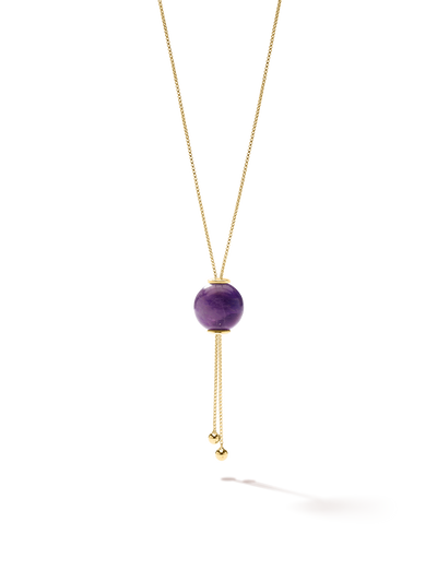 528 by CfH - Gliding Crystal Sphere Necklace - Amethyst - 18K Yellow Gold Vermeil - Close Up