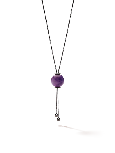 528 by CfH - Gliding Crystal Sphere Necklace - Amethyst - Black Ruthenium Plated Sterling Silver - Close Up