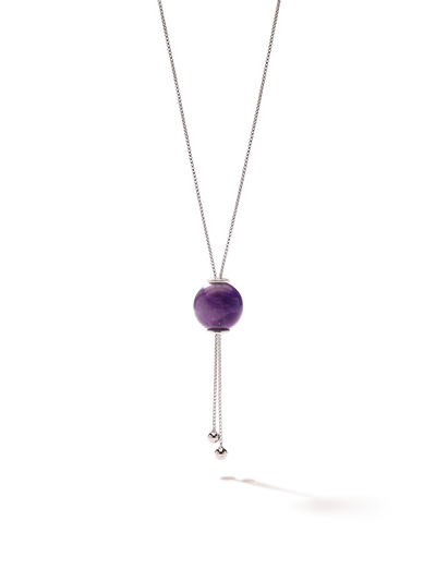 528 by CfH - Gliding Crystal Sphere Necklace - Amethyst - White Rhodium Plated Sterling Silver - Close Up