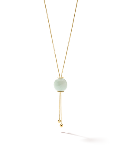 528 by CfH - Gliding Crystal Sphere Necklace - Amazonite - 18K Yellow Gold Vermeil - Close Up