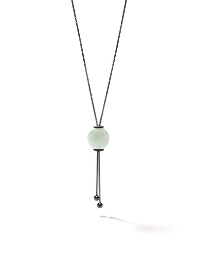 528 by CfH - Gliding Crystal Sphere Necklace - Amazonite - Black Ruthenium Plated Sterling Silver - Close Up