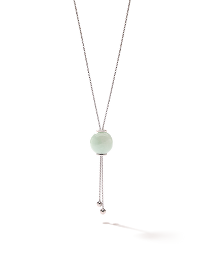 528 by CfH - Gliding Crystal Sphere Necklace - Amazonite - White Rhodium Plated Sterling Silver - Close Up