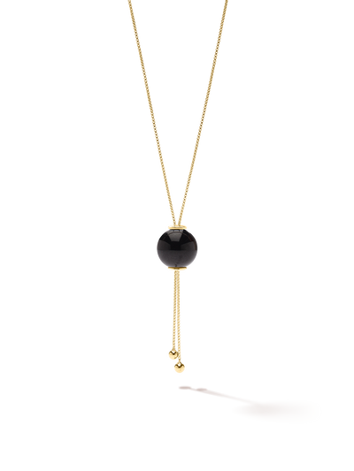 528 by CfH - Gliding Crystal Sphere Necklace - Black Jasper - 18K Yellow Gold Vermeil - Close Up