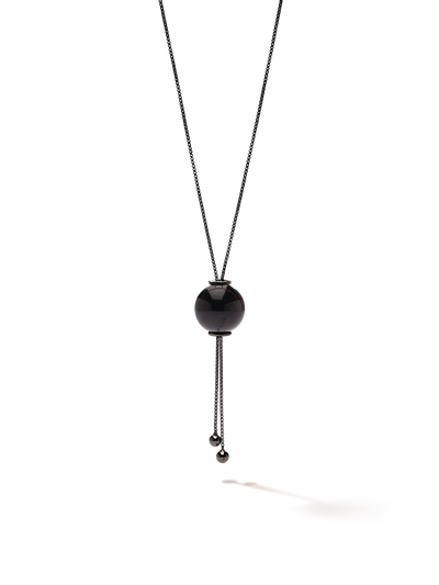 528 by CfH - Gliding Crystal Sphere Necklace - Black Jasper - Black Ruthenium Plated Sterling Silver - Close Up