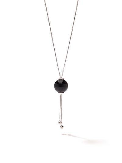 528 by CfH - Gliding Crystal Sphere Necklace - Black Jasper - White Rhodium Plated Sterling Silver - Close Up