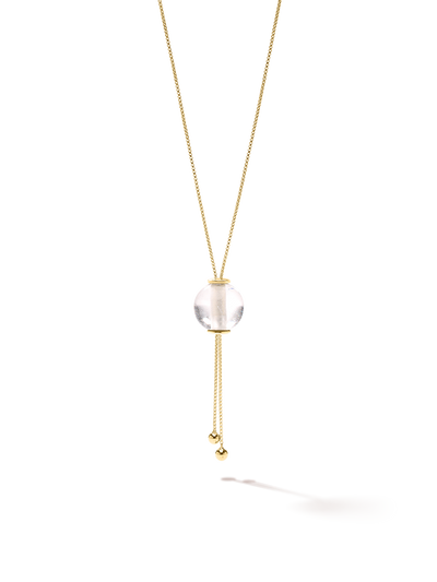 528 by CfH - Gliding Crystal Sphere Necklace - Clear Quartz - 18K Yellow Gold Vermeil - Close Up