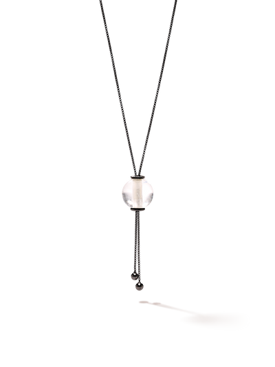 528 by CfH - Gliding Crystal Sphere Necklace - Clear Quartz - Black Ruthenium Plated Sterling Silver - Close Up