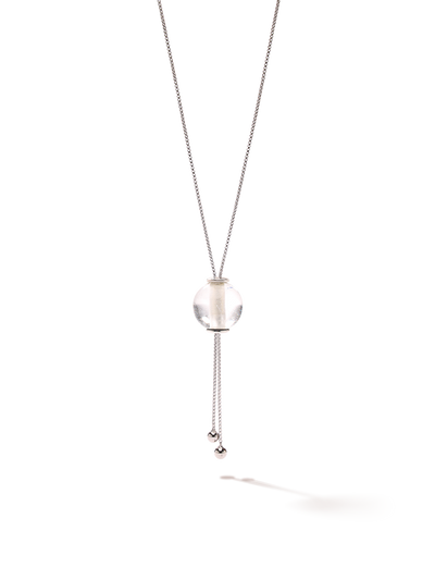 528 by CfH - Gliding Crystal Sphere Necklace - Clear Quartz - White Rhodium Plated Sterling Silver - Close Up