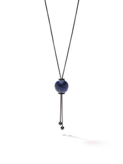 528 by CfH - Gliding Crystal Sphere Necklace - Lapis - Black Ruthenium Plated Sterling Silver - Close Up