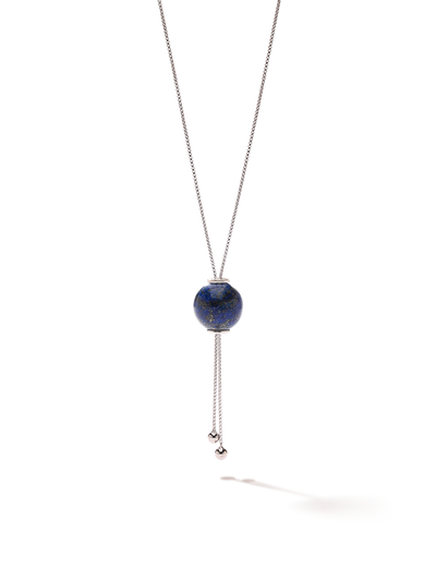 528 by CfH - Gliding Crystal Sphere Necklace - Lapis - White Rhodium Plated Sterling Silver - Close Up