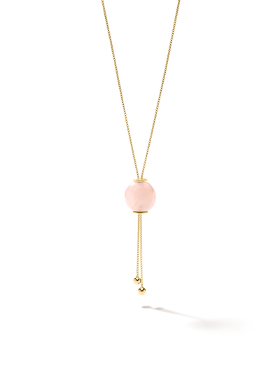 528 by CfH - Gliding Crystal Sphere Necklace - Rose Quartz - 18K Yellow Gold Vermeil - Close Up
