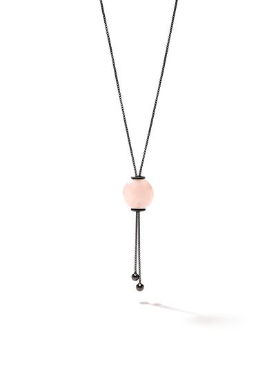 528 by CfH - Gliding Crystal Sphere Necklace - Rose Quartz - Black Ruthenium Plated Sterling Silver - Close Up