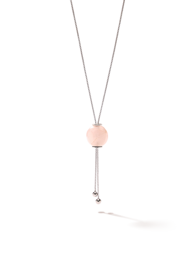528 by CfH - Gliding Crystal Sphere Necklace - Rose Quartz - White Rhodium Plated Sterling Silver - Close Up