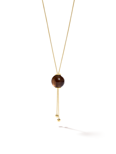 528 by CfH - Gliding Crystal Sphere Necklace - Smoky Quartz - 18K Yellow Gold Vermeil - Close Up