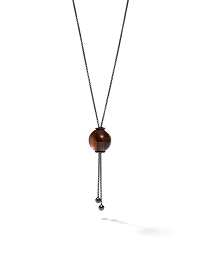 528 by CfH - Gliding Crystal Sphere Necklace - Smoky Quartz - Black Ruthenium Plated Sterling Silver - Close Up