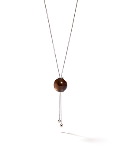 528 by CfH - Gliding Crystal Sphere Necklace - Smoky Quartz - White Rhodium Plated Sterling Silver - Close Up