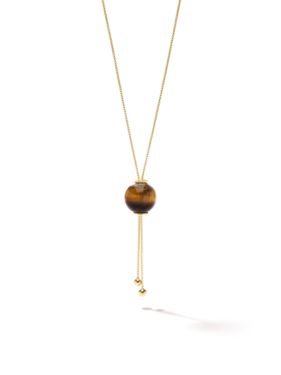 528 by CfH - Gliding Crystal Sphere Necklace - Tiger's Eye - 18K Yellow Gold Vermeil - Close Up