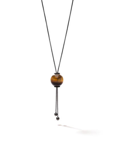 528 by CfH - Gliding Crystal Sphere Necklace - Tiger's Eye - Black Ruthenium Plated Sterling Silver - Close Up