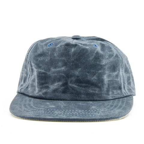 Blue Over Cream Waxed Cotton 5-Panel Baseball Hat - Break North
