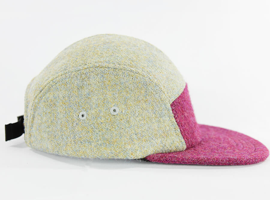 Raspberry Over Eggshell Harris Tweed Camper Hat - Break North