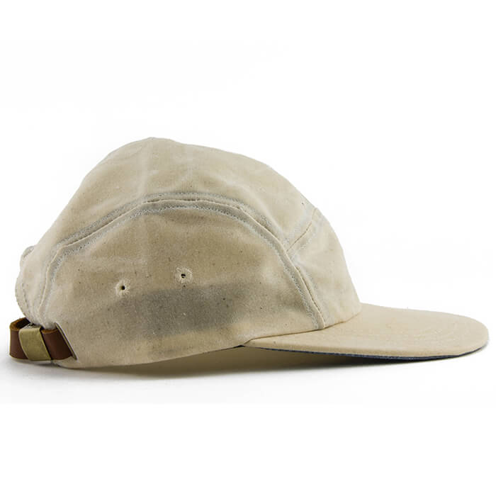 Cream Over Blue Waxed Cotton 5-Panel Camper Hat