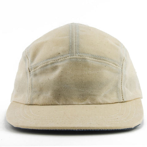 Cream Over Blue Waxed Cotton 5-Panel Camper Hat - Break North