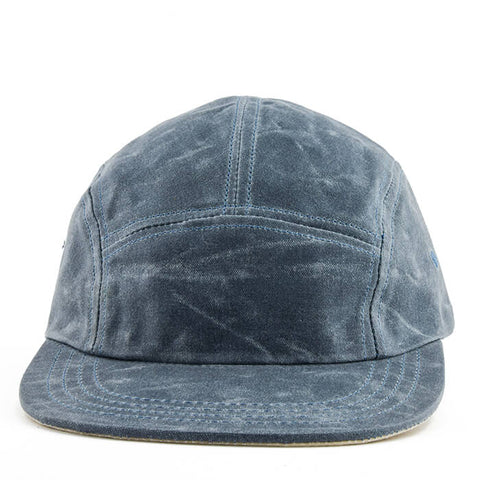 Blue Over Cream Waxed Cotton 5-Panel Camper Hat