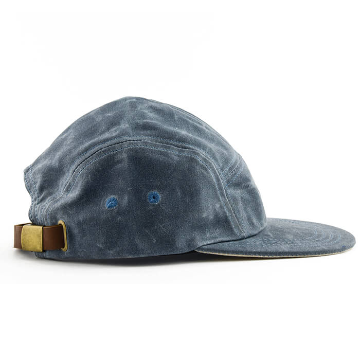 Blue Over Cream Waxed Cotton 5-Panel Camper Hat - Break North