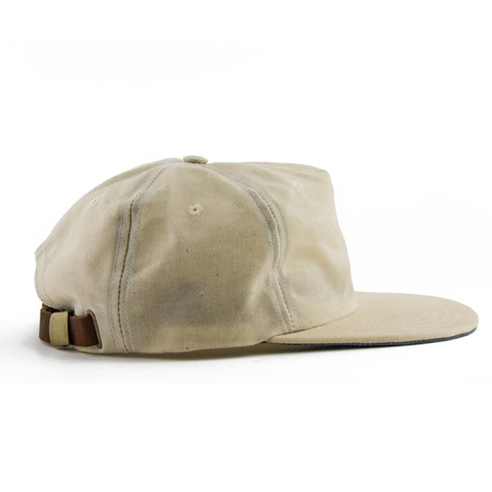 Cream Over Blue Waxed Cotton 5-Panel Baseball Hat