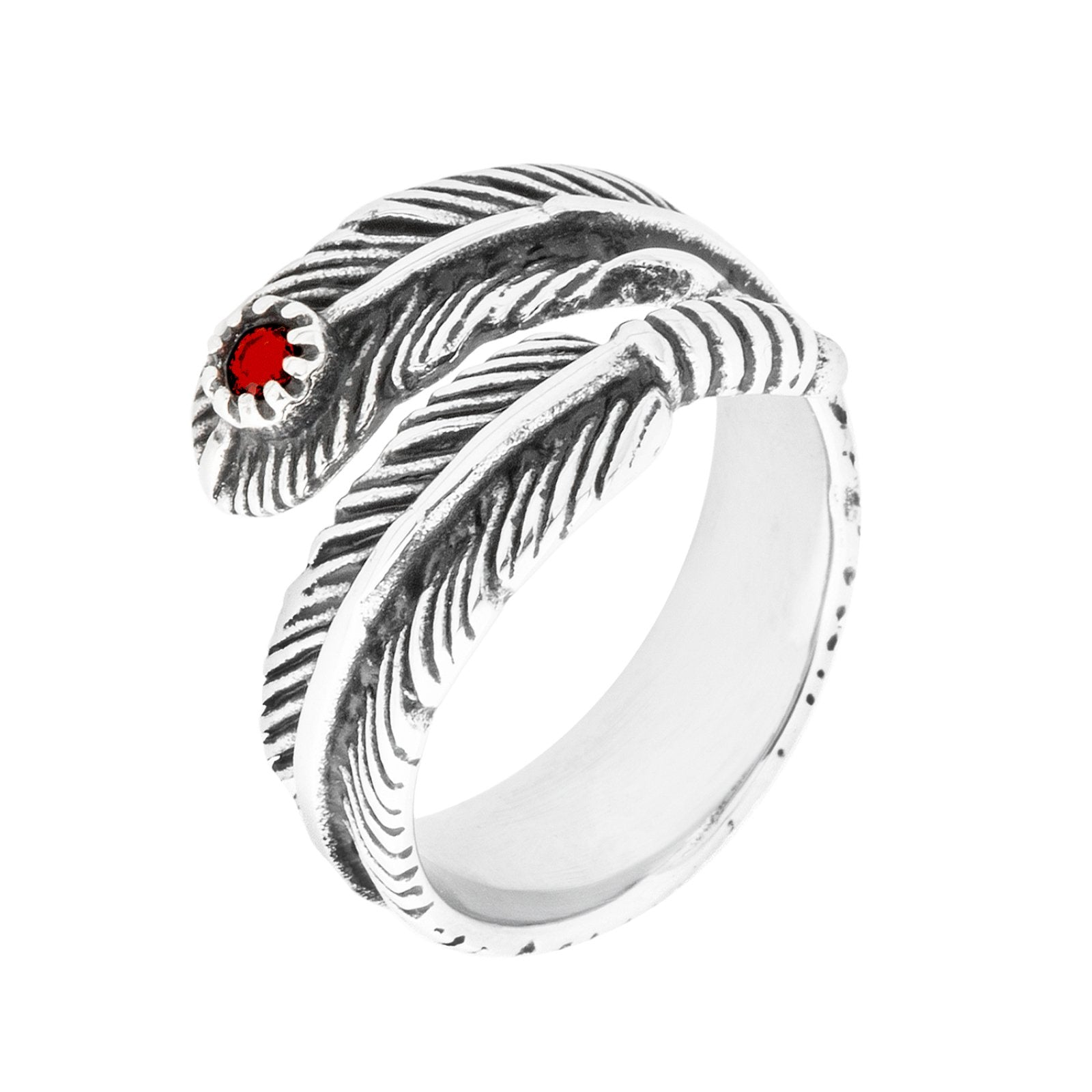 Feather Ring with Red Stone